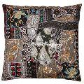 Black Indian Sari Decorative Throw Pillow Cover