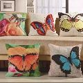 Digital Butterfly Printed Jute Cushion Covers