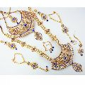 Beautiful Wedding Designer Gold Plated Complete Bridal Ethnic Zircon Necklace