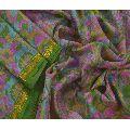 Pure Silk Printed Zari Border Fabric Sari