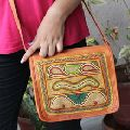 Real goat leather medium size embroidery cross body messenger bag