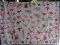 Patchwork Bedspread With Hand Embroidery, Kids Special Village Theme