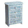 Industrial Vintage Blue distressed painted 4 drawer bedroom furniture