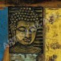 VINTAGE RECLAIMED BUDDHA METAL STAMP STORAGE BOX
