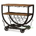 Vintage Industrial Wine Bar Cart Serving Table