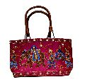 Traditional Ethnic Mirror Work Embroidered Style Tote Ladies Sling Cotton Wood Handbag