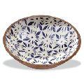 handmade tableware antique carved wooden bowl dinnerware root carving bowl Enamel print bowls