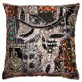 Indian Patchwork Embellished Cushion Cover