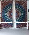 OMBRE MANDALA FLORAL BLUE COTTON WALL HANGING CURTAIN