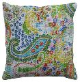 Embroidered Kantha Paisley Throw Cushion Cover
