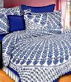 cotton fabric Jaipuri peacock feathers print Queen bedsheet with 2 pillow covers.