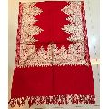 Red Designer Pashmina Kashmiri Silk Embroidered Stole