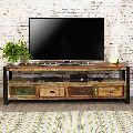 reclaimed wood tv unit with four drawer