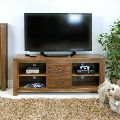 solid wood tv unit in teak finish