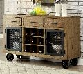 wooden bar trolley with 3 drawer