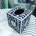 Bone inlay floral design tissue box