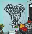Elephant Black & White Cotton Wall Hanging Tapestry