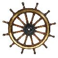 Wood And Brass Ship Wheel