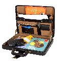 Hard Craft Faux Leather Briefcase Combination Lock Brown