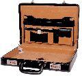 Hard Craft Vegan Leather Briefcase Attache Silver Combination - Black07
