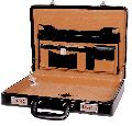 Hard Craft Vegan Leather Briefcase Attache Silver Combination - Black
