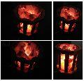 Round Wooden Himalayan Salt Lamp