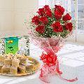 Kaju Katli N Red Rose Bouquet