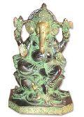 Ganesh Brass Statue (Ganesh Sitting on Lotus Hexagonal Base)