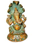Ganesh Brass Statue (Ganesh Sitting W/Cobra)