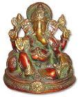 Ganesh Brass Statue (Ganesh W/2 Pillow on Dragon Base)
