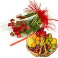 Red Roses with Fruits