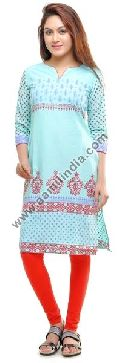 Blue  Long Cotton Kurti