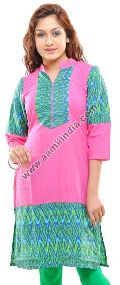 Pink Cotton Long Kurti