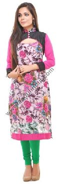 Pink Georgette Long Kurta