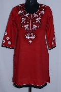 Indian Red Embroidery Kurtis