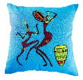 Embroidered African Dance Cushion Cover