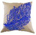 Embroidered Blue Feather Cushion Cover