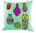 Embroidered Decorative Pots Cushion Cover