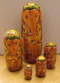 Wooden Ganesh Russian Dolls