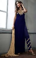 D1120 Georgette Embrodary Work Blue Semi Stitched Anarkali Type Suit