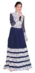 Fs2050 Georgette Embrodary Work Blue Semi Stitched Anarkali Type Gown