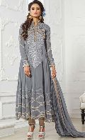 Fs2140 Georgette Embrodary Grey Semi Stitched Anarkali Suit