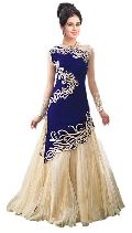 Georgette Embrodary Work Blue Semi Stitched Anarkali Suit