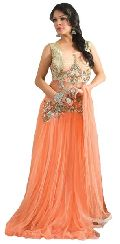 Fs1780 Net Embrodary Work Orange Semi Stitched Anarkali Suit