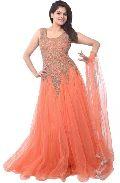 Fs1030 Santon Embrodary Work Orange Semi Stitched Anarkali Suit