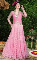 FS1970 Georgette Embrodary Work Pink Semi Stitched Anarkali type Gown