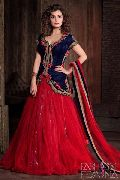 Fs1400 Velvet Net Embrodary Work Red&blue Semi Stitched Anarkali Suit