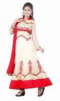 FS1540 Velvet Net Embrodary Work White Semi Stitched Anarkali Suit