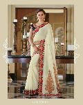 CREAM EMBROIDERED FANCY PARTY WEAR SAREE