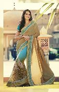 DESIGNER BEIGE & BLUE EMBROIDERED PARTY WEAR SAREE